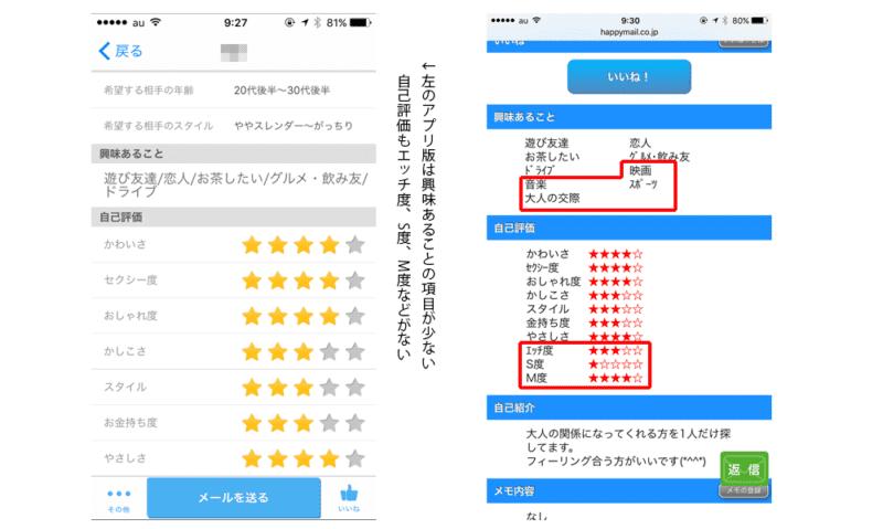ハッピーメールアプリとWEB版のプロフの違い