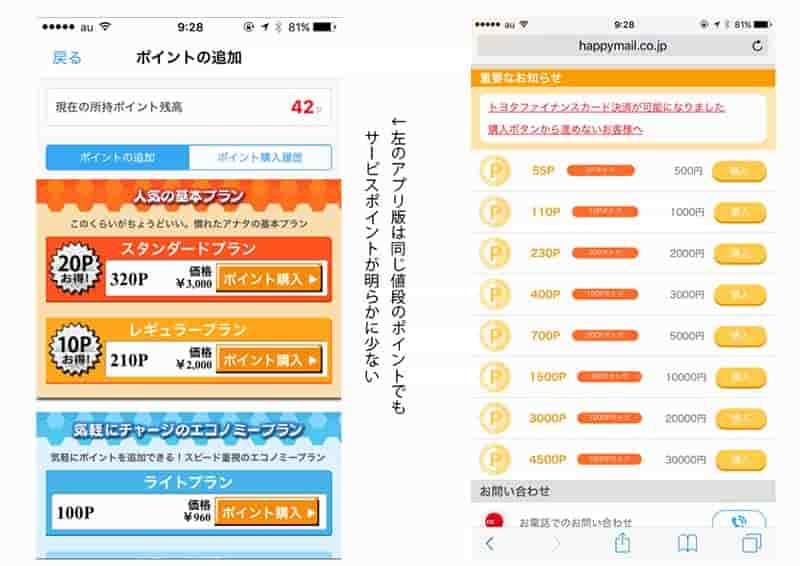ハッピーメールポイント購入時のアプリとウェブの違い